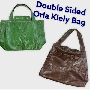 Orla Kiely Green / Brown double sided bag
